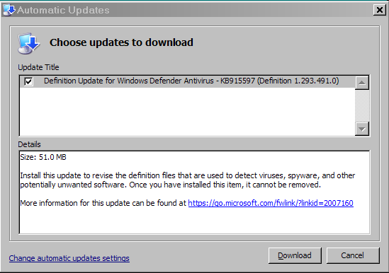Windows Defender won't update using WEPOS | Windows XP Forums